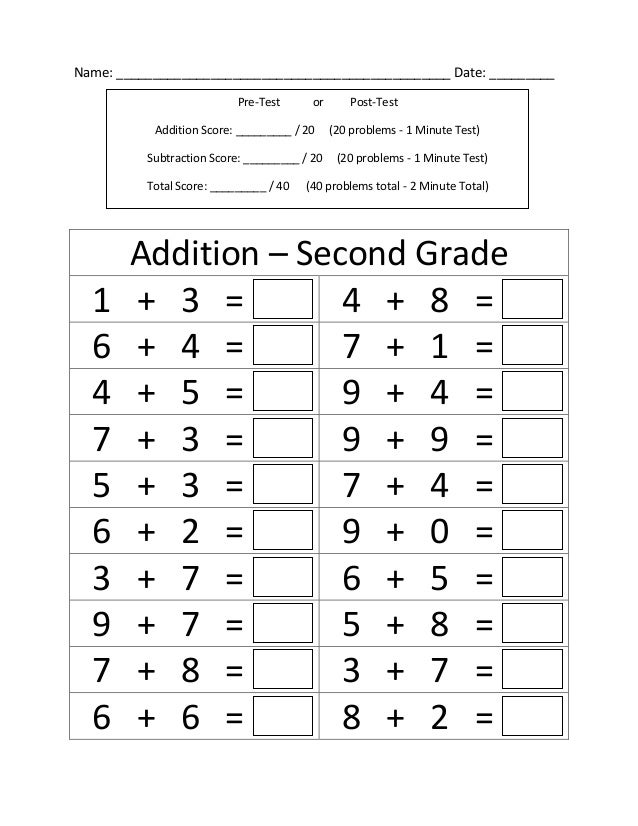 Second Grade Addition Free Math Worksheets And Printouts 3rd – Addition and Subtraction Worksheets for 2nd Grade
