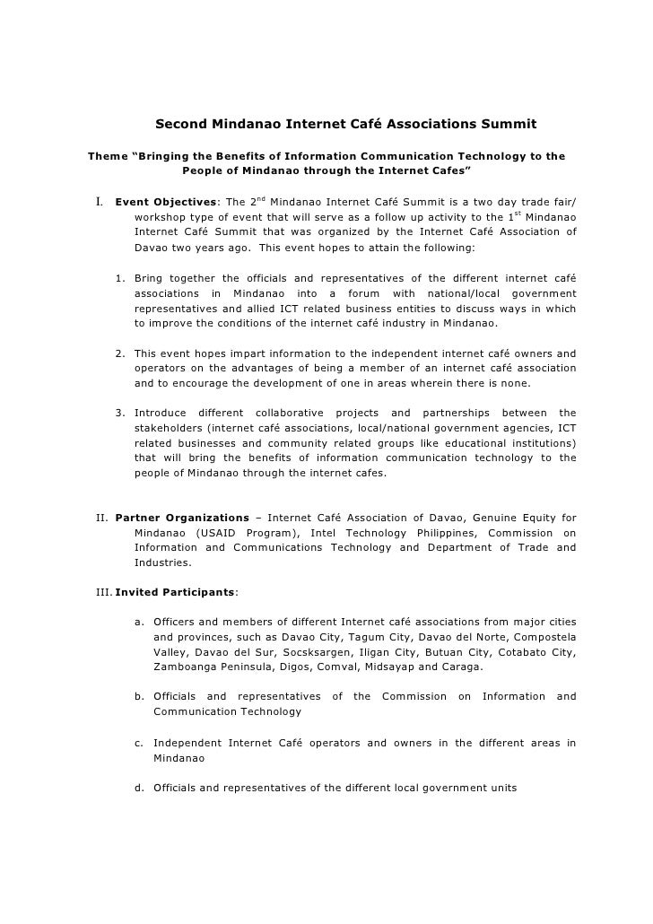"Second Mindanao Internet Café Associations Summit  Theme ""Bringing the Benefits of Information Communication Technology to..."