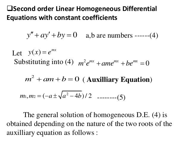 second order differential equations Second order linear nonhomogeneous differential equations we will focus our attention to the simpler topic of nonhomogeneous second order linear equations with constant coefficients: a y + b y + c the method of undetermined coefficients (sometimes referred to as the.