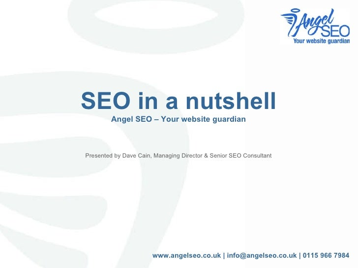 SEO in a nutshell Angel SEO – Your website guardian Presented by Dave Cain, Managing Director & Senior SEO Consultant www....