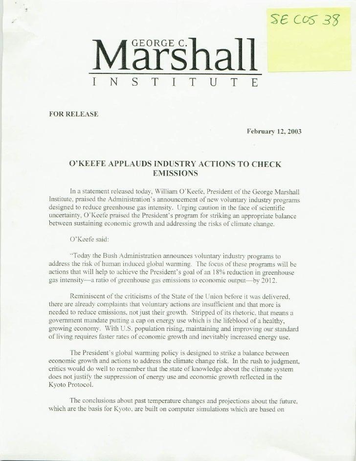 """Document- """"George C. Marshall Institute"""""""