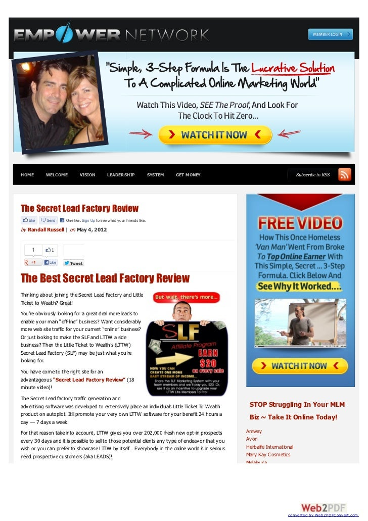 Secret Lead Factory Review on Empower Network Blog