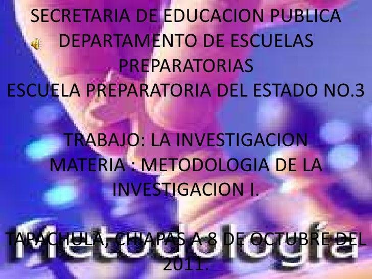 SECRETARIA DE EDUCACION PUBLICA     DEPARTAMENTO DE ESCUELAS           PREPARATORIASESCUELA PREPARATORIA DEL ESTADO NO.3  ...