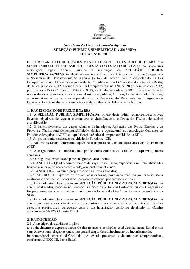 1                      Secretaria do Desenvolvimento Agrário                  SELEÇÃO PÚBLICA SIMPLIFICADA 2013/SDA       ...