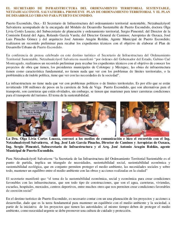 EL SECRETARIO DE INFRAESTRUCTURA DEL ORDENAMIENTO TERRITORIAL SUSTENTABLE,NETZAHUALCÓYOTL SALVATIERRA. PROMUEVE PLAN DE OR...