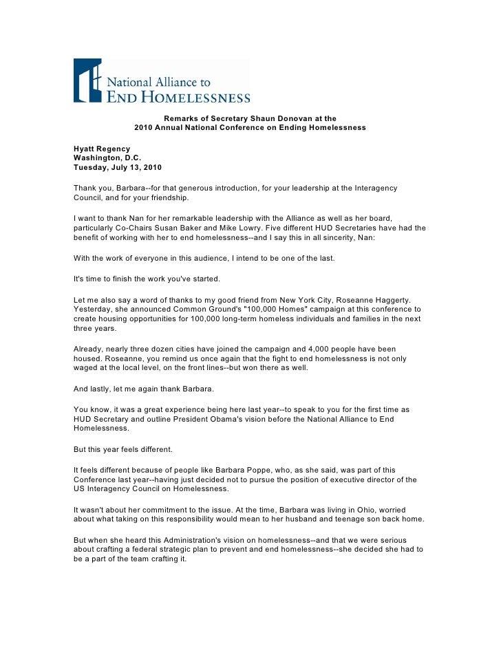Remarks of Secretary Shaun Donovan at the                   2010 Annual National Conference on Ending Homelessness  Hyatt ...