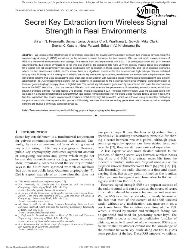 Secret key extraction from wireless signal strength in real environments