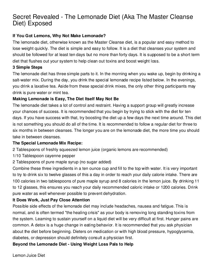 Master Cleanse Diet Recipe And Instructions Secret Revealed The Lemonade Diet Aka The Master Cleanse Diet Exposed