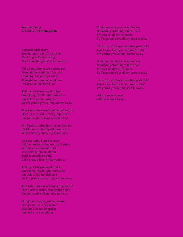 Secrets lyrics onerepublic song