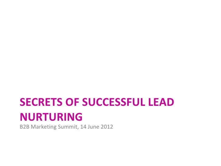Secrets of lead nurturing for B2B Marketing Summit 2012 by The Marketing Practice