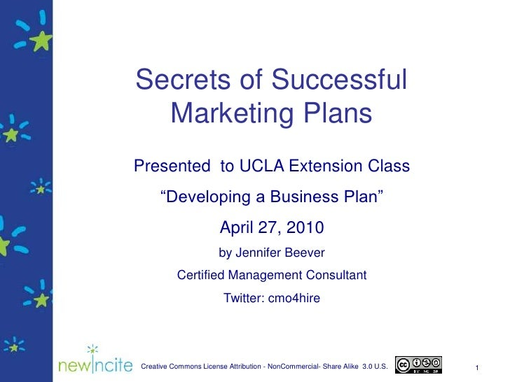 """1<br />Secrets of Successful Marketing Plans<br />Presented  to UCLA Extension Class  <br />""""Developing a Business Plan""""<b..."""