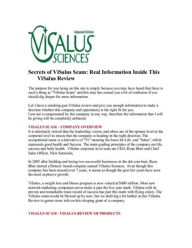 Secrets Of Visalus Scam
