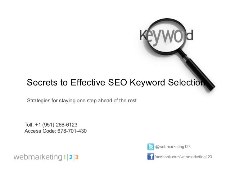 Secrets to effective keyword selection