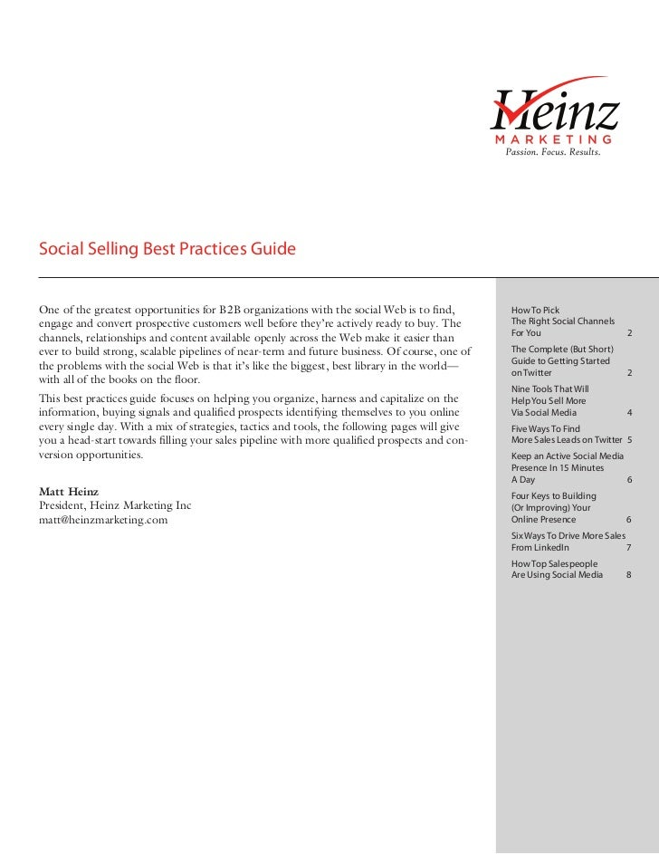 Social Selling Best Practices GuideOne of the greatest opportunities for B2B organizations with the social Web is to find,...