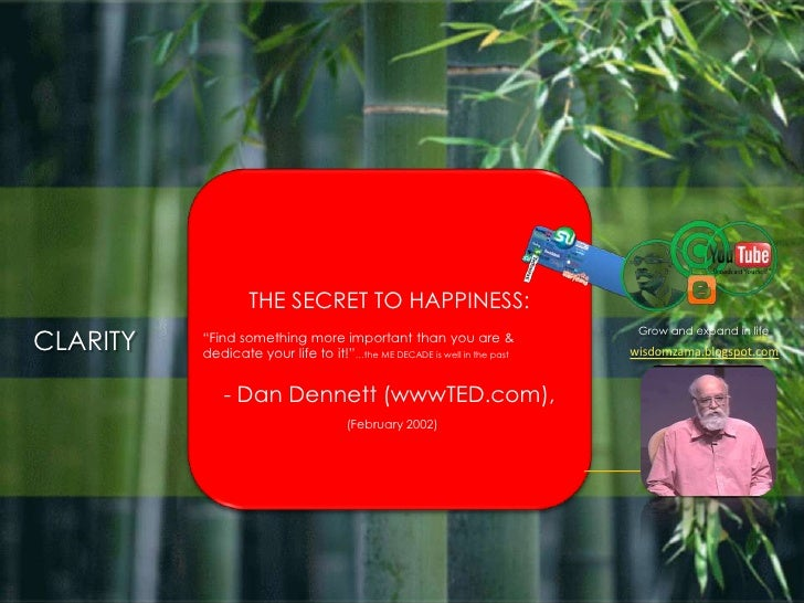 "THE SECRET TO HAPPINESS: <br />""Find something more important than you are & dedicate your life to it!""…the ME DECADE is w..."