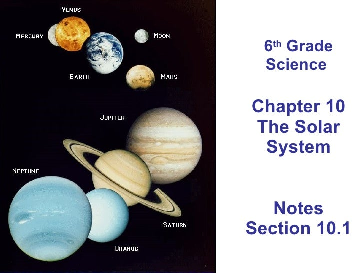 6 th  Grade Science  Chapter 10 The Solar System Notes Section 10.1