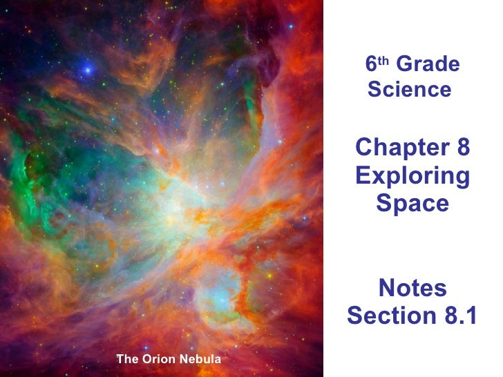 6 th  Grade Science  Chapter 8 Exploring Space Notes Section 8.1 The Orion Nebula