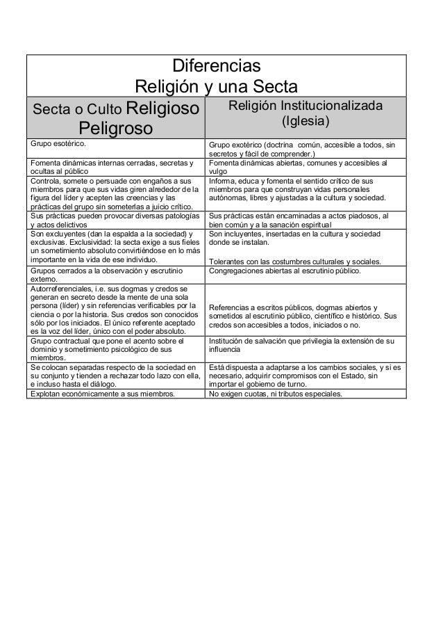 Diferencias               Religión y una SectaSecta o Culto Religioso    Religión Institucionalizada                      ...