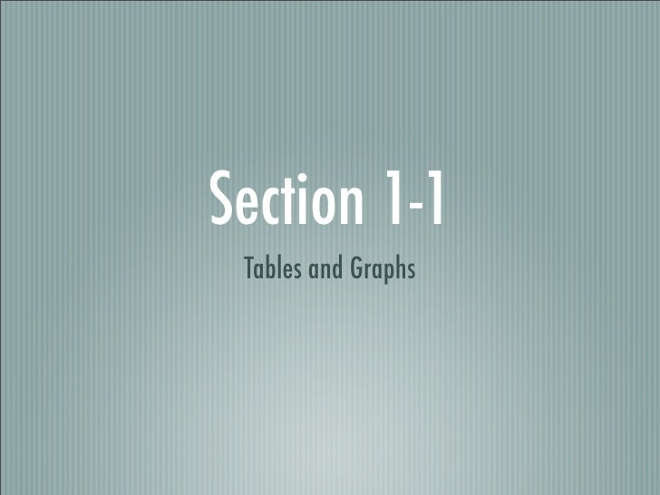 Section 1-1  Tables and Graphs