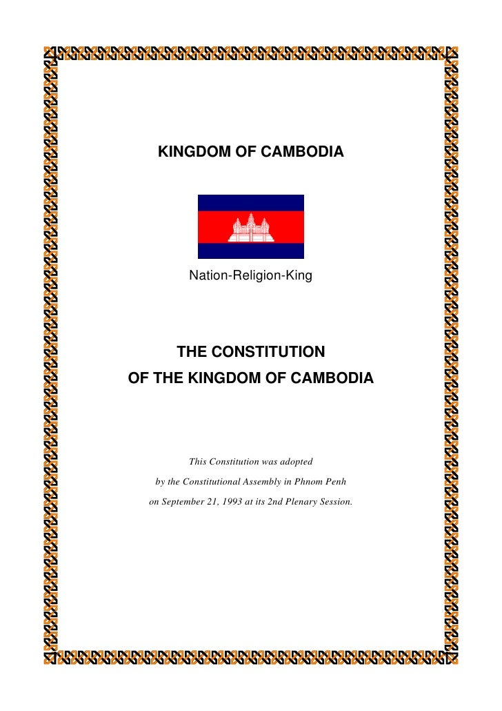 Constitution of the Kingdom of Cambodia (1993) and subsequent amendments (2001) (ភាសាអង់គ្លេស)
