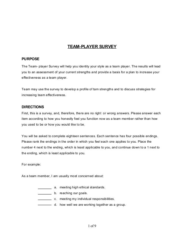 how to answer to a team player