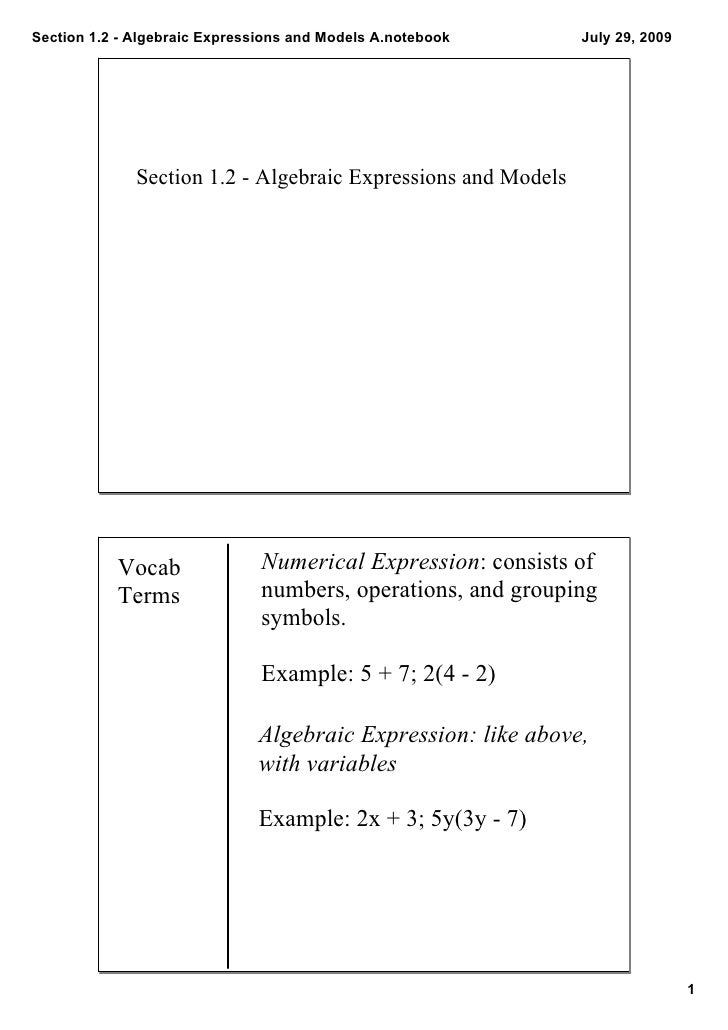 Section1.2AlgebraicExpressionsandModelsA.notebook      July29,2009                   Section1.2AlgebraicExp...