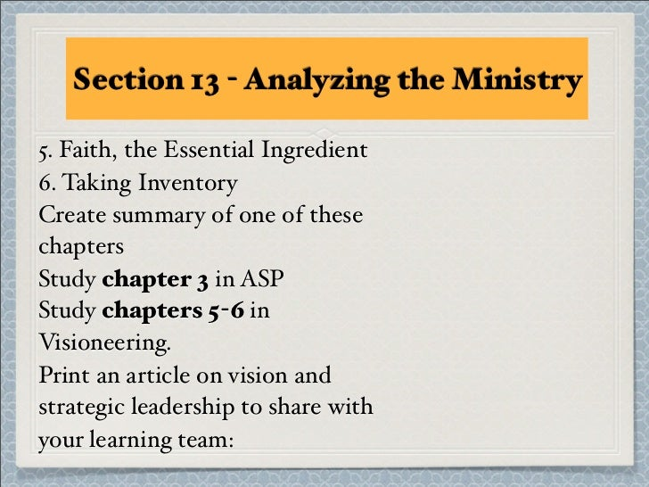 Section 13 - Analyzing the Ministry5. Faith, the Essential Ingredient6. Taking InventoryCreate summary of one of thesechap...