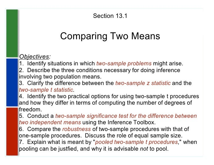 Section 13.1                   Comparing Two Means Objectives: 1. Identify situations in which two-sample problems might a...