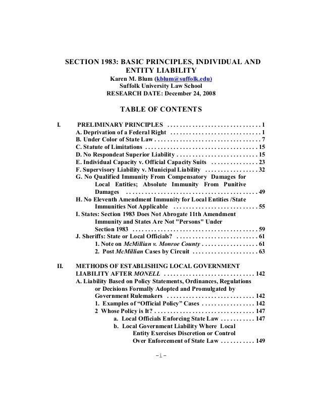 Section 1983   basic principles, individual and entity liability, by  karen blum, esq