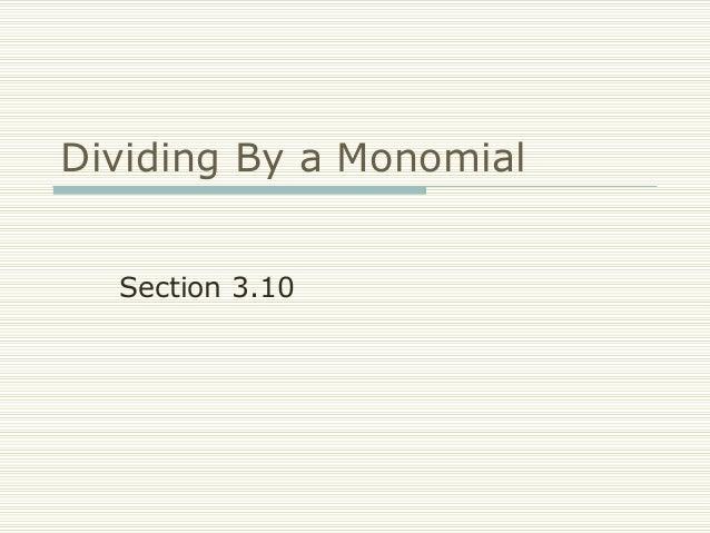 FRCC MAT050 Dividing by a Monomial (Sect 3.10)