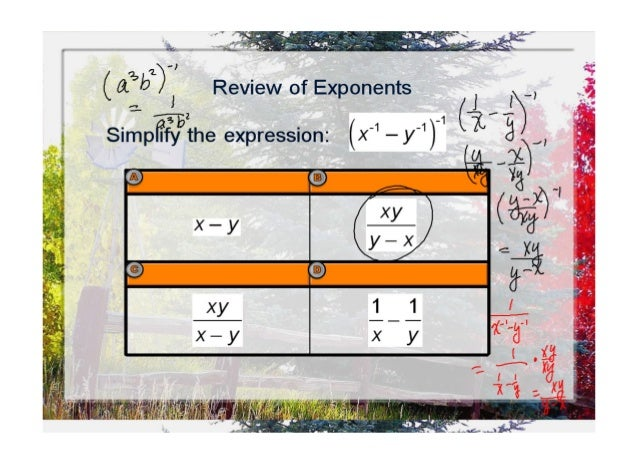 """.2. 2,';  six!  44'.   (6351);  Review of Exponents  P:   i """" E 7'  Sirnpiiiygzthe expression:  (x"""" — y"""")_1 (             ..."""