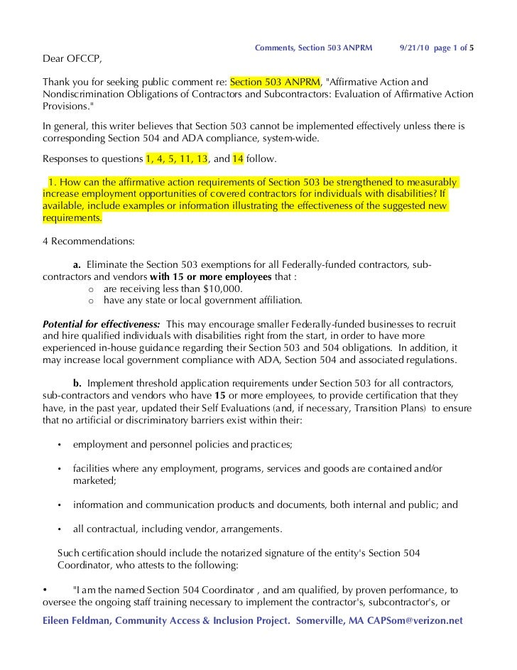 Comments, Section 503 ANPRM       9/21/10 page 1 of 5 Dear OFCCP,  Thank you for seeking public comment re: Section 503 AN...