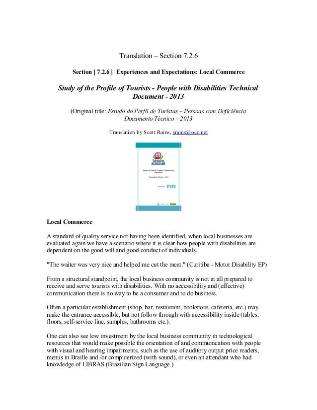 Translation – Section 7.2.6 Section [ 7.2.6 ] Experiences and Expectations: Local Commerce  Study of the Profile of Touris...