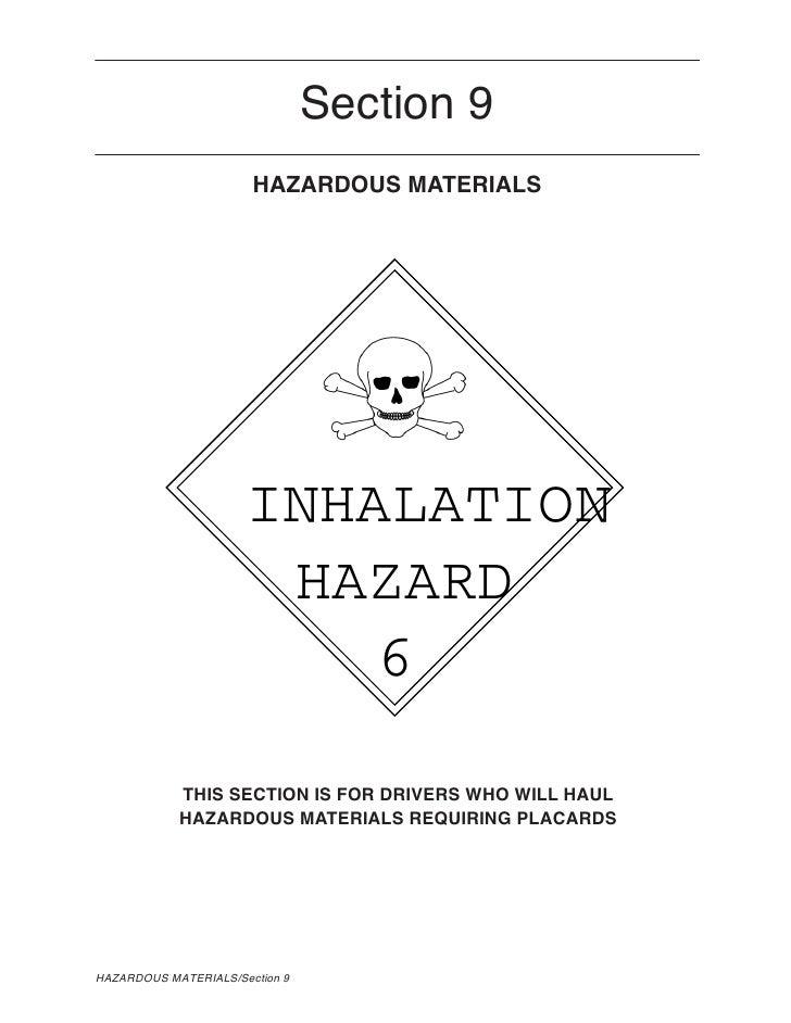 Section 9                        HAZARDOUS MATERIALS                           INHALATION                        HAZARD   ...