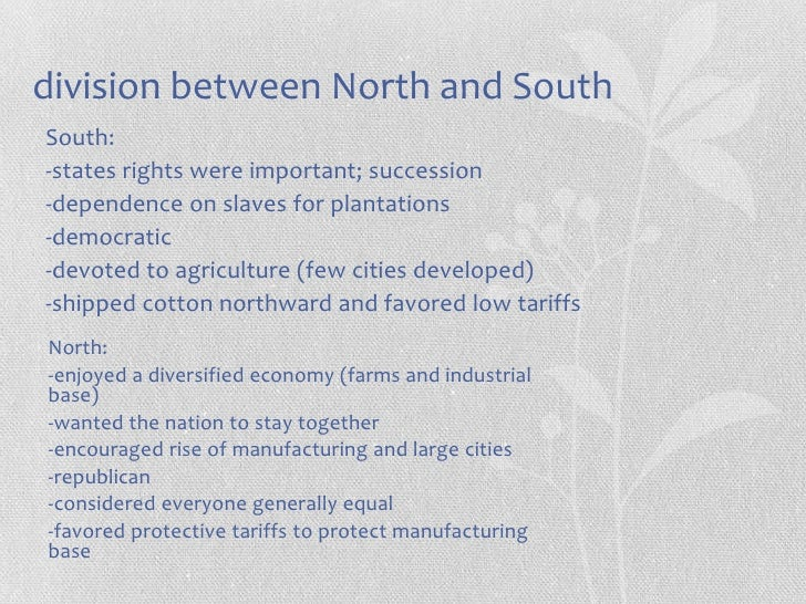 sectionalism between north and south essays Sectionalism between the north and the south during america's colonial period continued until after sectionalism between north and south (2008 essays.