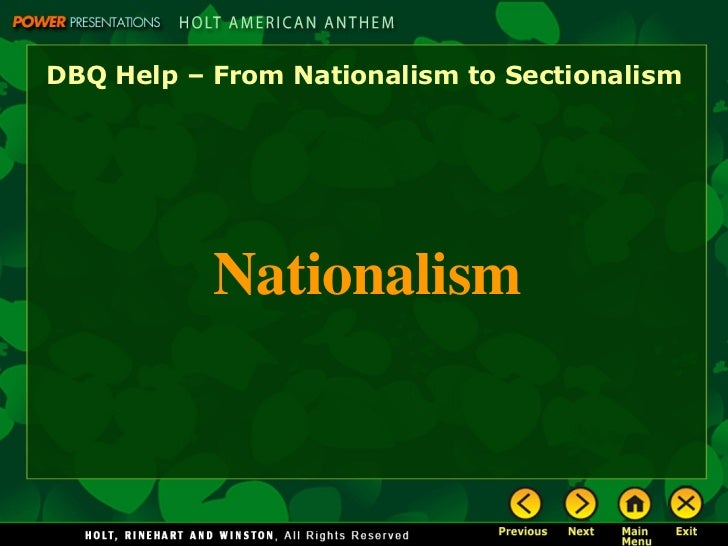 ap us history essay on nationalism vs sectionalism Start studying ap us history ch 9: sectionalism learn vocabulary, terms, and more with flashcards, games, and other study tools.