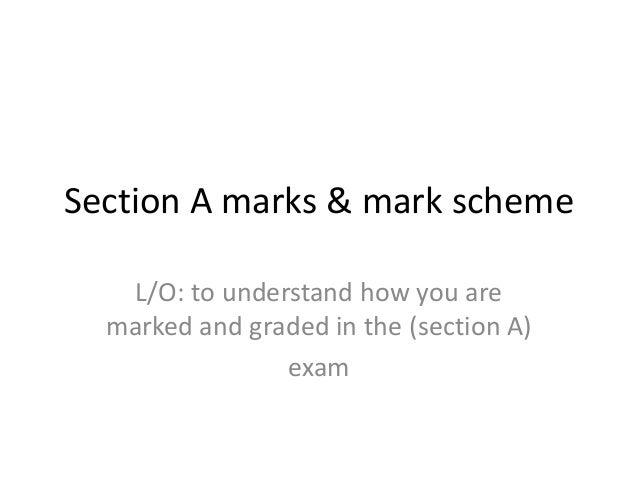 Section a marks & mark scheme
