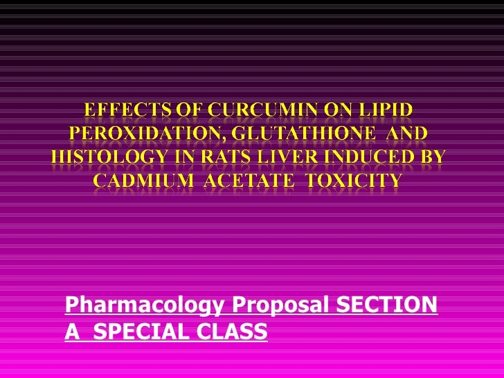 Pharmacology Proposal SECTION A  SPECIAL CLASS