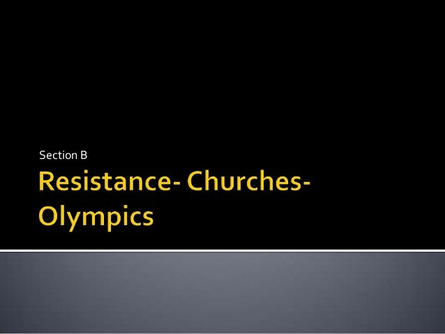 Resistance, churches and Olympics during nazi germany