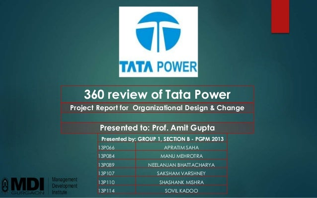 360 review of Tata Power Project Report for Organizational Design & Change Presented to: Prof. Amit Gupta Presented by: GR...