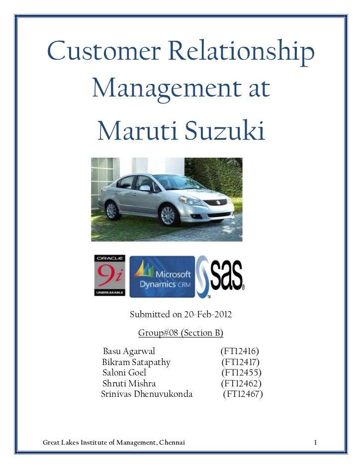 Customer relationship management at Maruti Suzuki