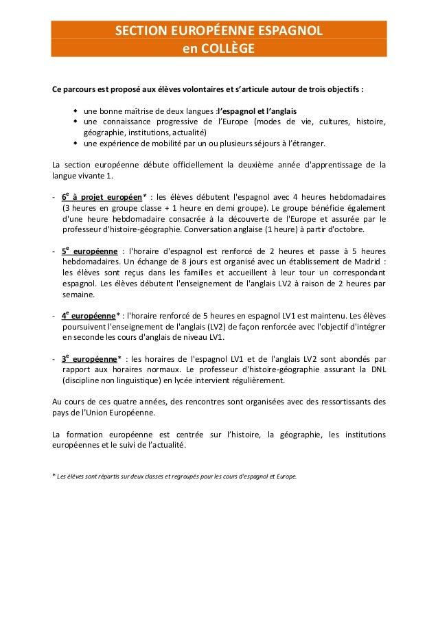 section europ u00e9enne espagnol coll u00e8ge et lyc u00e9e