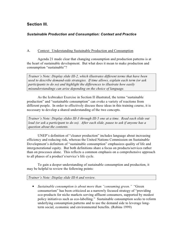 Section III.Sustainable Production and Consumption: Context and PracticeA.       Context: Understanding Sustainable Produc...