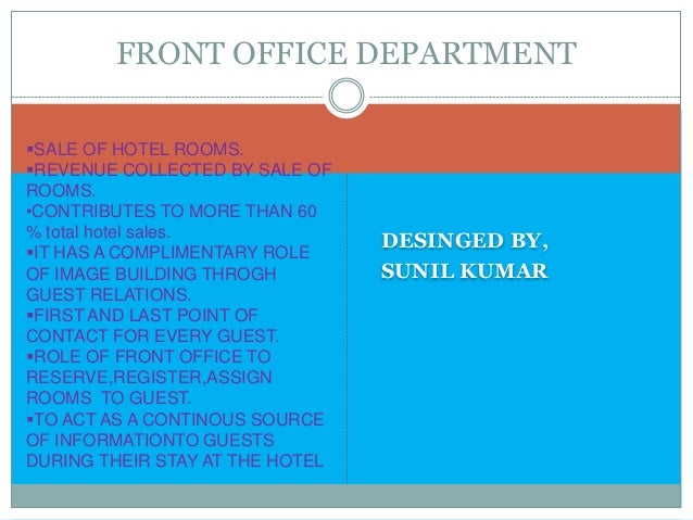 Hotels Front Office Department Front Office Department