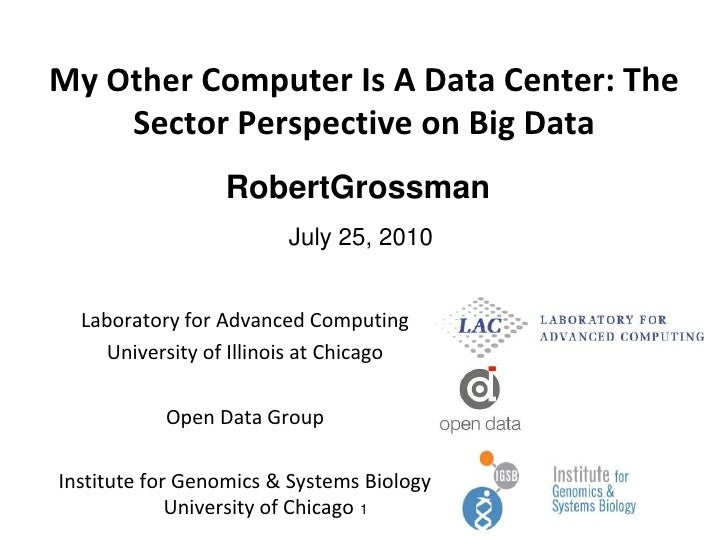 My Other Computer Is A Data Center: The Sector Perspective on Big Data<br />July 25, 2010<br />1<br />RobertGrossman<br />...