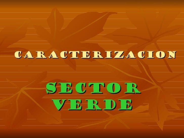 CARACTERIZACION SECTOR VERDE