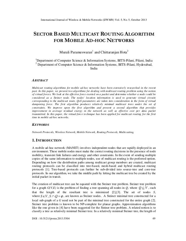 International Journal of Wireless & Mobile Networks (IJWMN) Vol. 5, No. 5, October 2013  SECTOR BASED MULTICAST ROUTING AL...