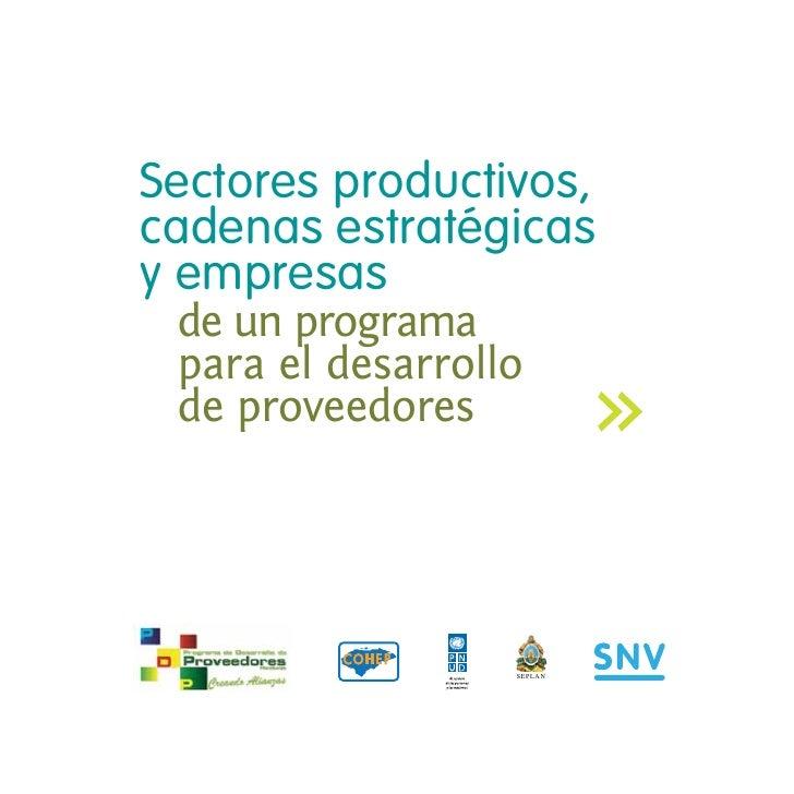 Sectores productivos,cadenas estratégicasy empresas de un programa para el desarrollo de proveedores                  SEPLAN