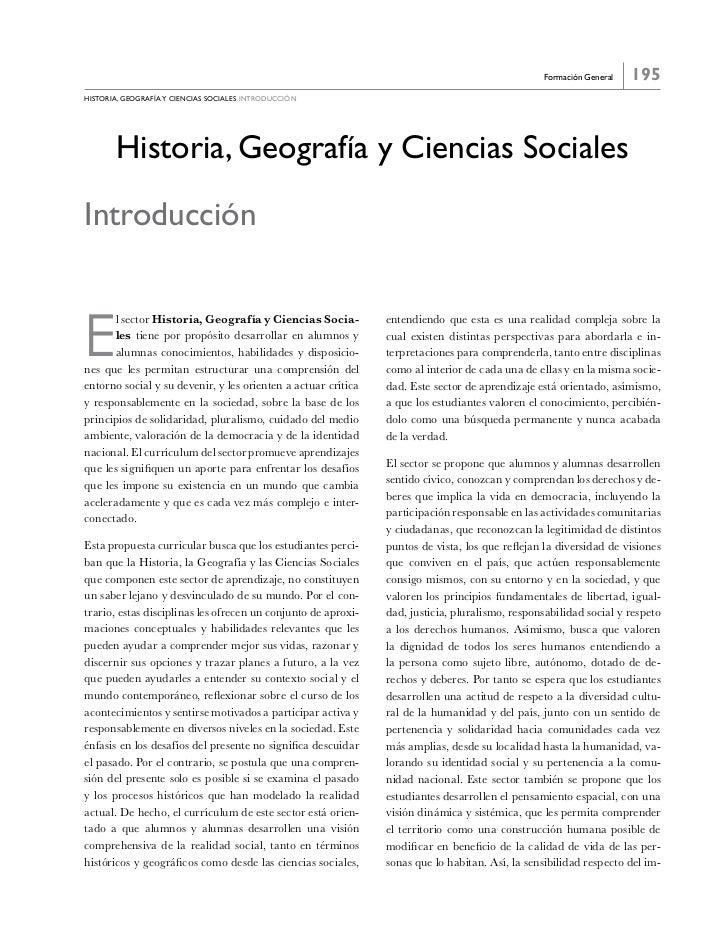 Formación General   195historia, GeoGraFía y ciencias sociales introducción       Historia, Geografía y Ciencias SocialesI...