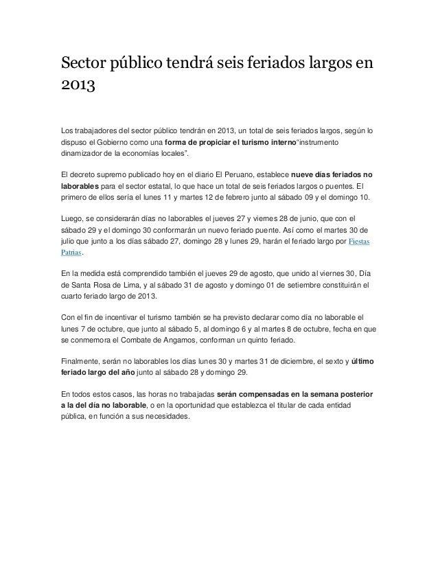 FERIADOS LARGOS EN PERU 2013